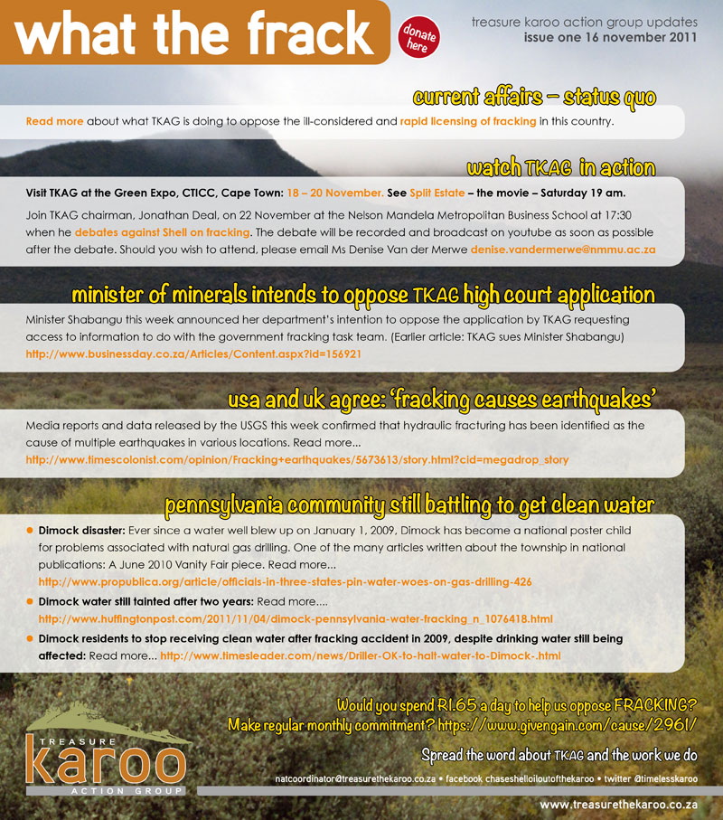 treasure karoo action group updates  issue one 16 november 2011